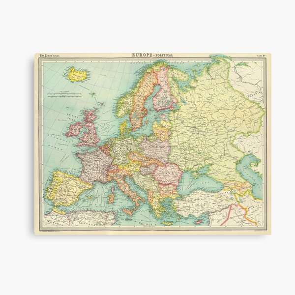 Vintage Map of Europe (1922) Canvas Print