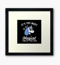 Most Magical Time Hanukkah Unicorn Framed Print