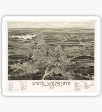 Vintage Pictorial Map of South Weymouth MA (1885) Sticker
