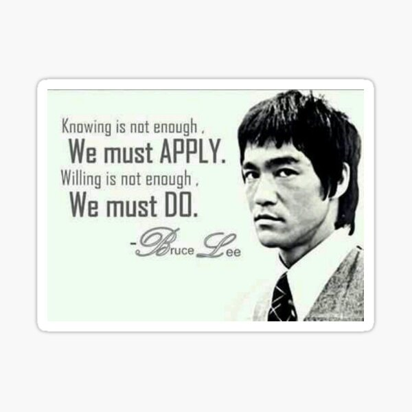 """BRUCE LEE QUOTE POSTER /"""" KNOWING IS NOT ENOUGH WE MUST APPLY/"""" 24/""""x36/"""" NEW"""