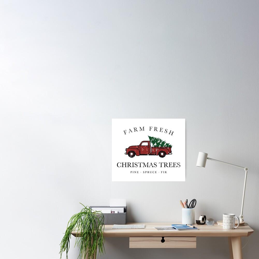 Christmas Tree Farm Vintage Truck Poster