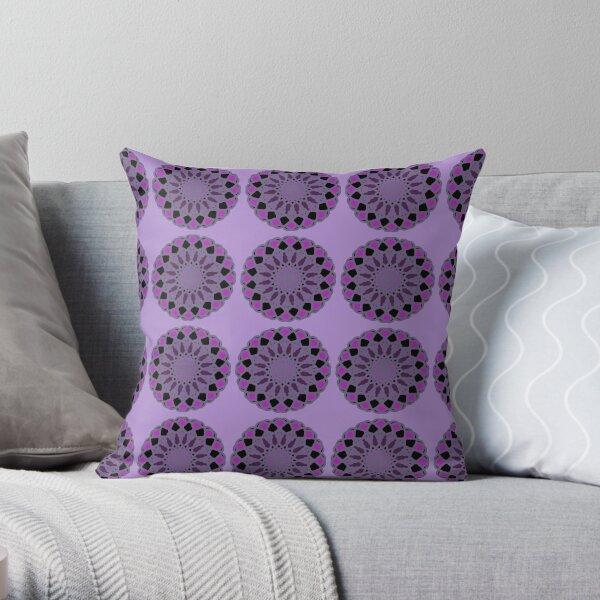 Black Purple and Grey Pattern Design Throw Pillow