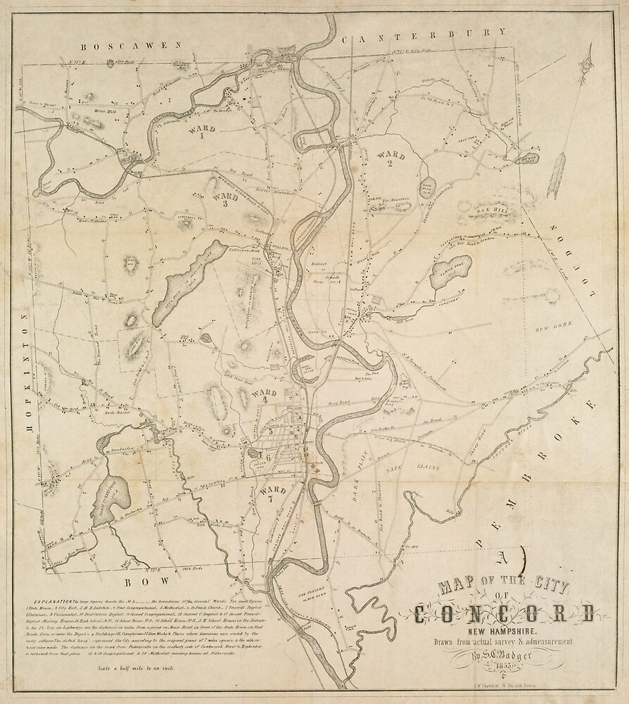 Vintage Map of Concord NH (1855)