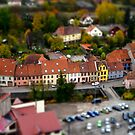 Tilt-shift miniature aerial view of red tile roofs in Schirmeck by Alexander Sorokopud