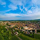 Aerial overview from drone to majestic village Obernai by Alexander Sorokopud