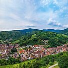 Medieval village Andlau aerial panoramic view from drone. Alsace, France. by Alexander Sorokopud