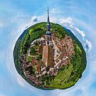 Spherical panoramic view like a planet of village Andlau, Alsace, France. by Alexander Sorokopud