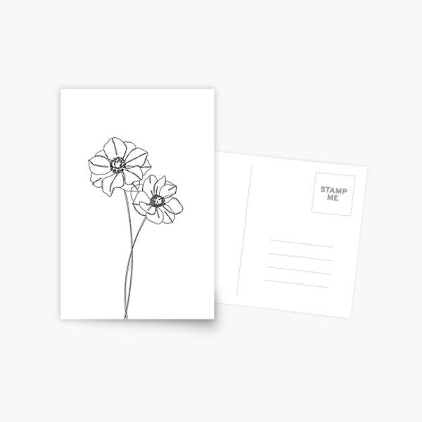 Botanical illustration line drawing - Anemones Postcard
