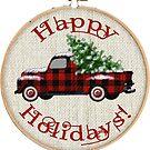 Vintage Truck Happy Holidays! | Embroidery Hoop by CheriesArt