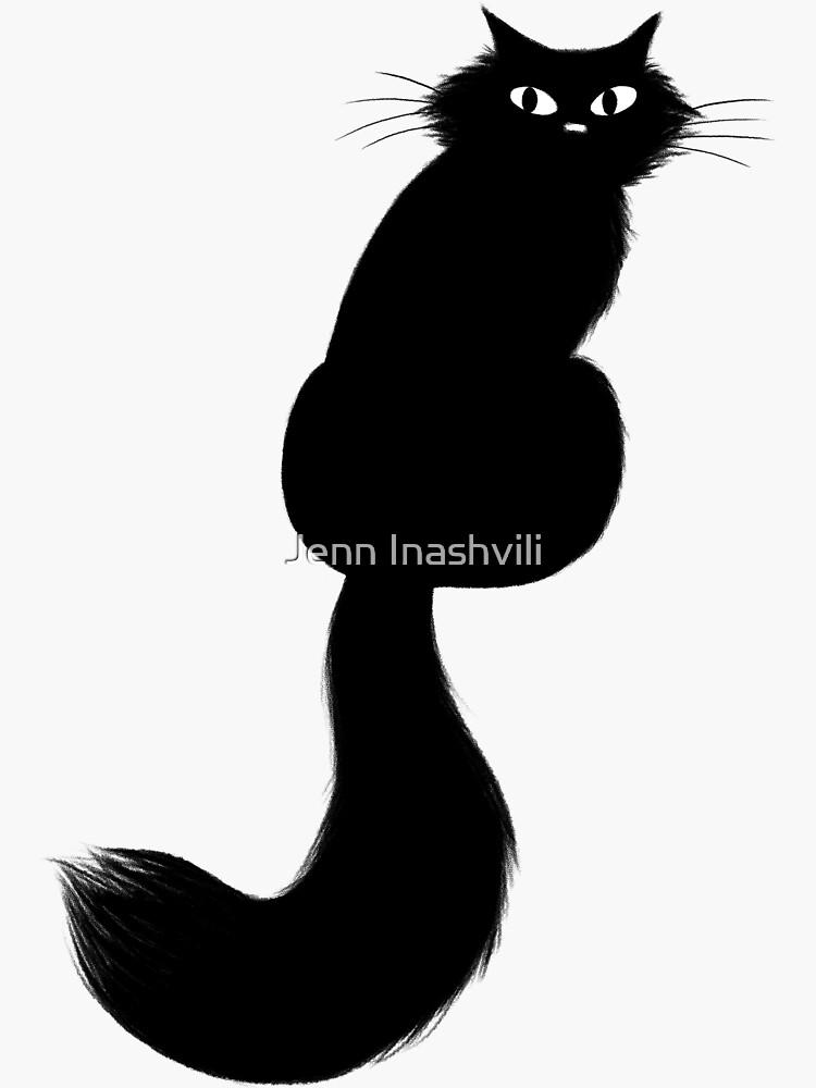 Langhaarige schwarze Katze von ShortCoffee