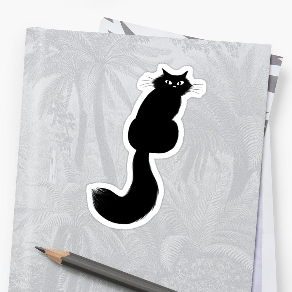 Langhaarige schwarze Katze Sticker