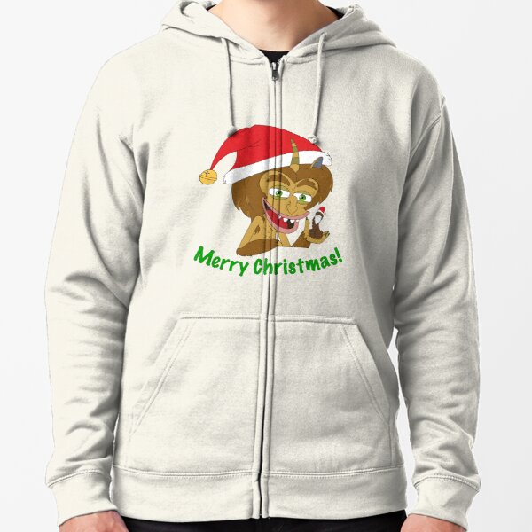 Merry Christmas Hormone Monster - Big Mouth Zipped Hoodie