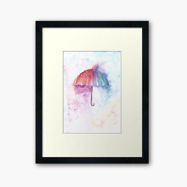 Loose Watercolor Umbrella Framed Art Print