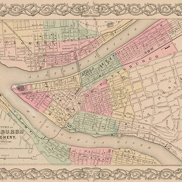 Vintage Map of Pittsburgh PA (1855) by BravuraMedia