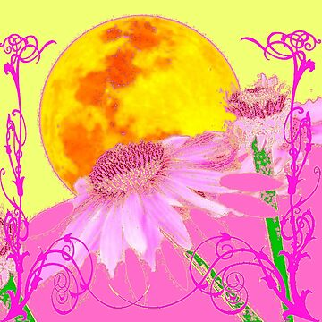 PINK SURREAL  FLORAL & GOLDEN MOON FANTASY GARDEN ART by sharlesart