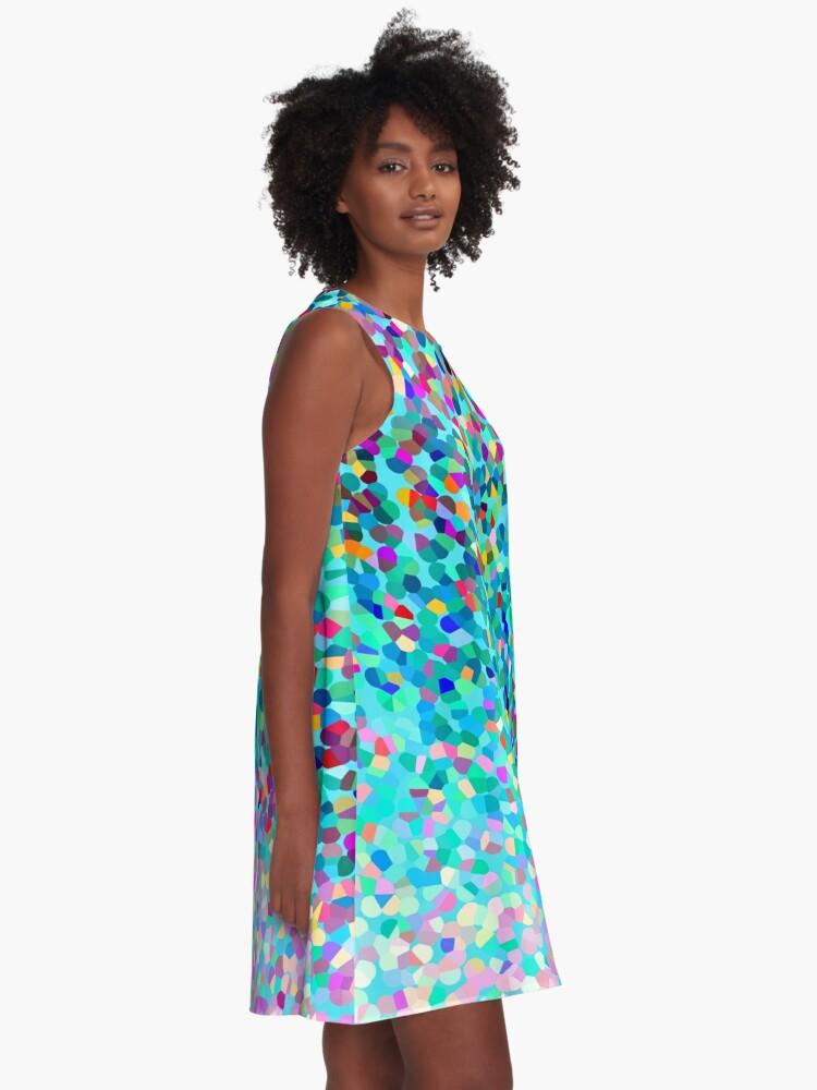 Alternative Ansicht von Aqua Blue Mehrfarbige Abstrakte Kunst Formt Muster A-Linien Kleid