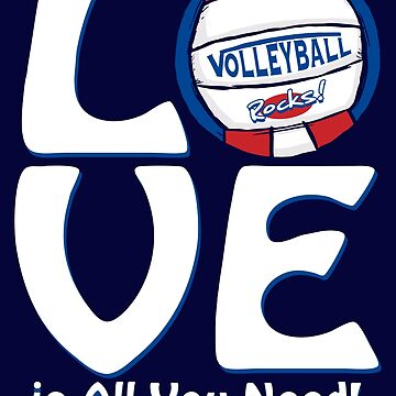 Volleyball Love Red and Blue Vball by MudgeStudios