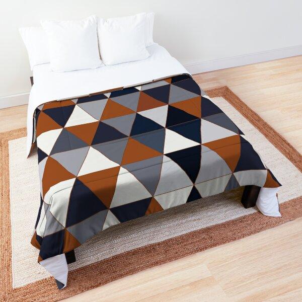 Navy and Rust Triangles II Comforter