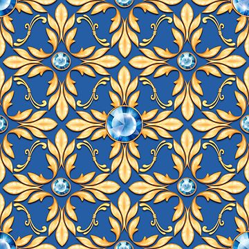 Seamless golden pattern with blue gems by Gribanessa