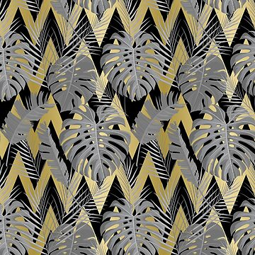Art Deco Tropical Foliage Grey Black and Gold by ElainePlesser