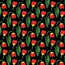 Bold Modern Bright Red and Yellow Flowers on Black Background by Elaine Plesser