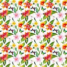 Bright Tropical Flowers and Butterflies by Elaine Plesser