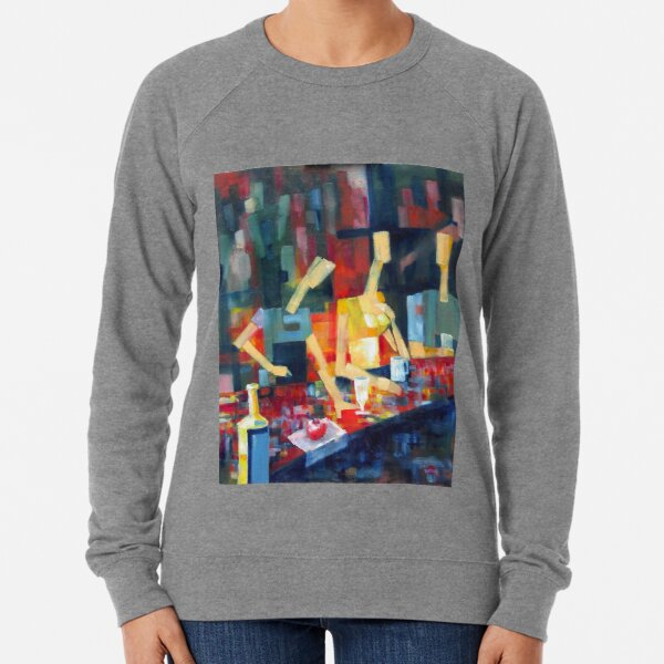 Cafe with Yellow Dress Lightweight Sweatshirt