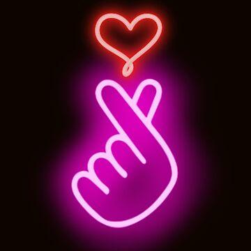 K-Pop Lover | Finger Heart | Neon  by House-of-Roc