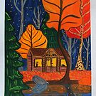 Cabin in the woods autumnal night by Wieskunde