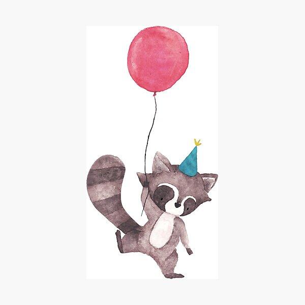 Birthday Raccoon with Balloon Photographic Print