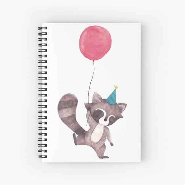 Birthday Raccoon with Balloon Spiral Notebook