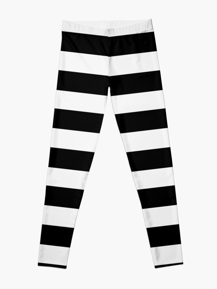 Alternate view of Black White Horizontal Lines Leggings