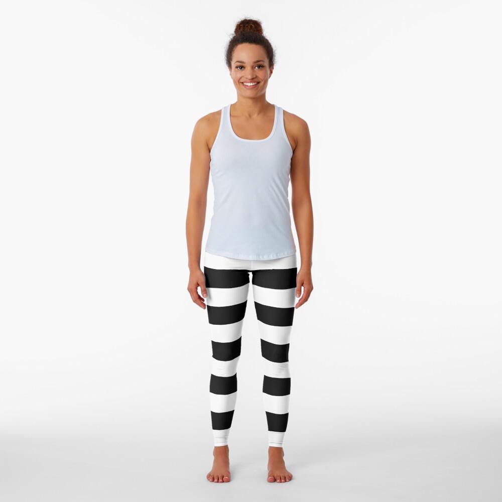 Black White Horizontal Lines Leggings