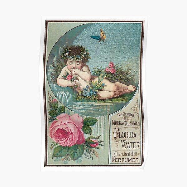 Flowery Cherub Drinking Poster