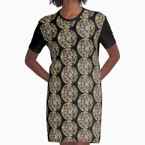 The Many Faces of Snow Monkeys Graphic T-Shirt Dress