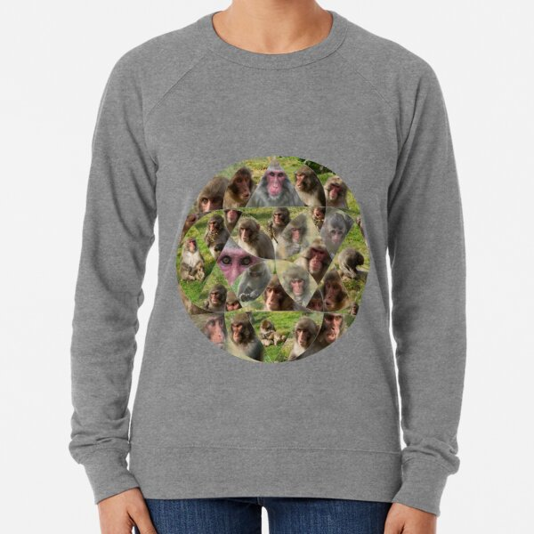 The Many Faces of Snow Monkeys Lightweight Sweatshirt