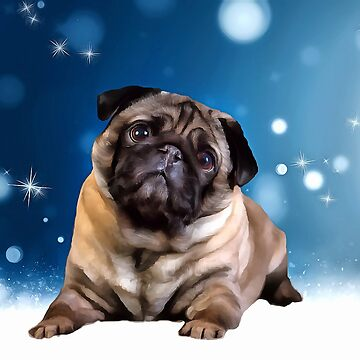 A Pug for Christmas. (Painting) by cmphotographs