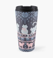 Fair Isle Knitting Cats Love // dark violet background white and violet kitties and details Travel Mug
