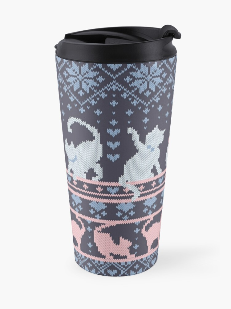 Alternate view of Fair Isle Knitting Cats Love // dark violet background white and violet kitties and details Travel Mug