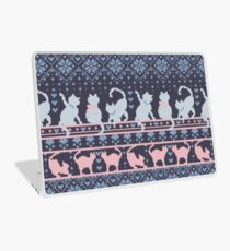 Fair Isle Knitting Cats Love // dark violet background white and violet kitties and details Laptop Skin