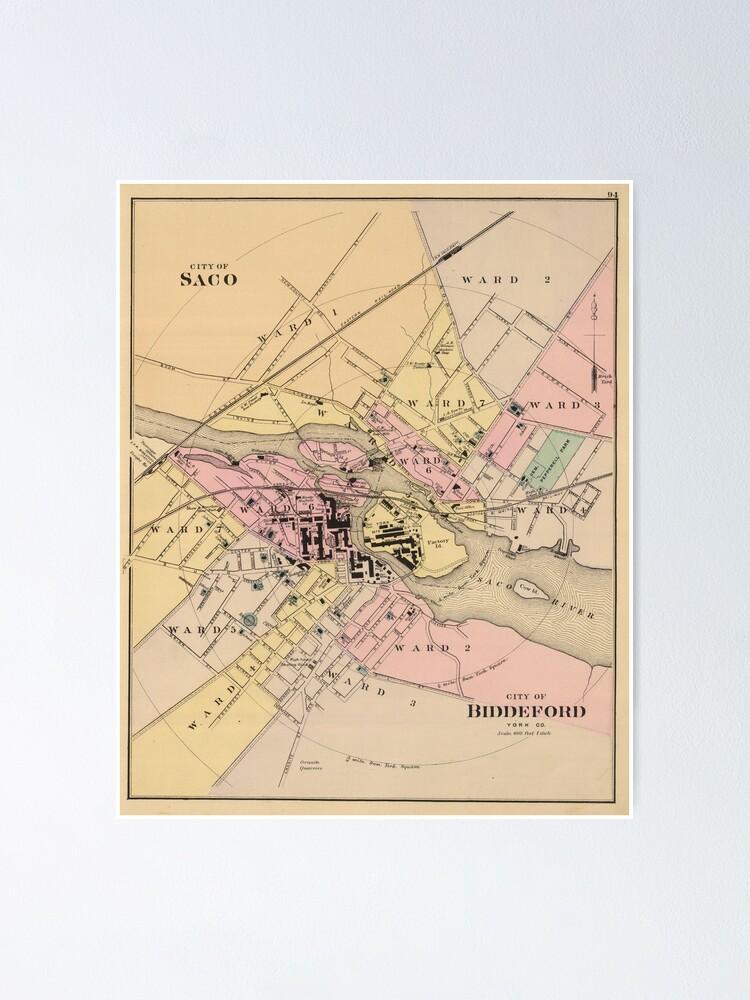 Vintage Map Of Saco Biddeford Me 1885 Poster By Bravuramedia Redbubble