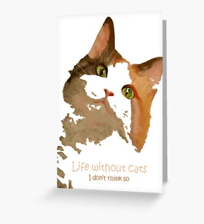 Life Without Cats Vector Greeting Card