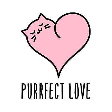 Purrfect Love, Cute cat in pink heart by beakraus