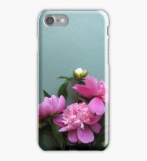 pink peony blooms on green background iPhone Case/Skin