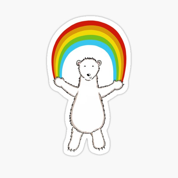 Polar Bear and Rainbow Pattern 6 Sticker