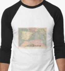 Vintage Map of The Eastern Mediterranean Ports (1905) Men's Baseball ¾ T-Shirt