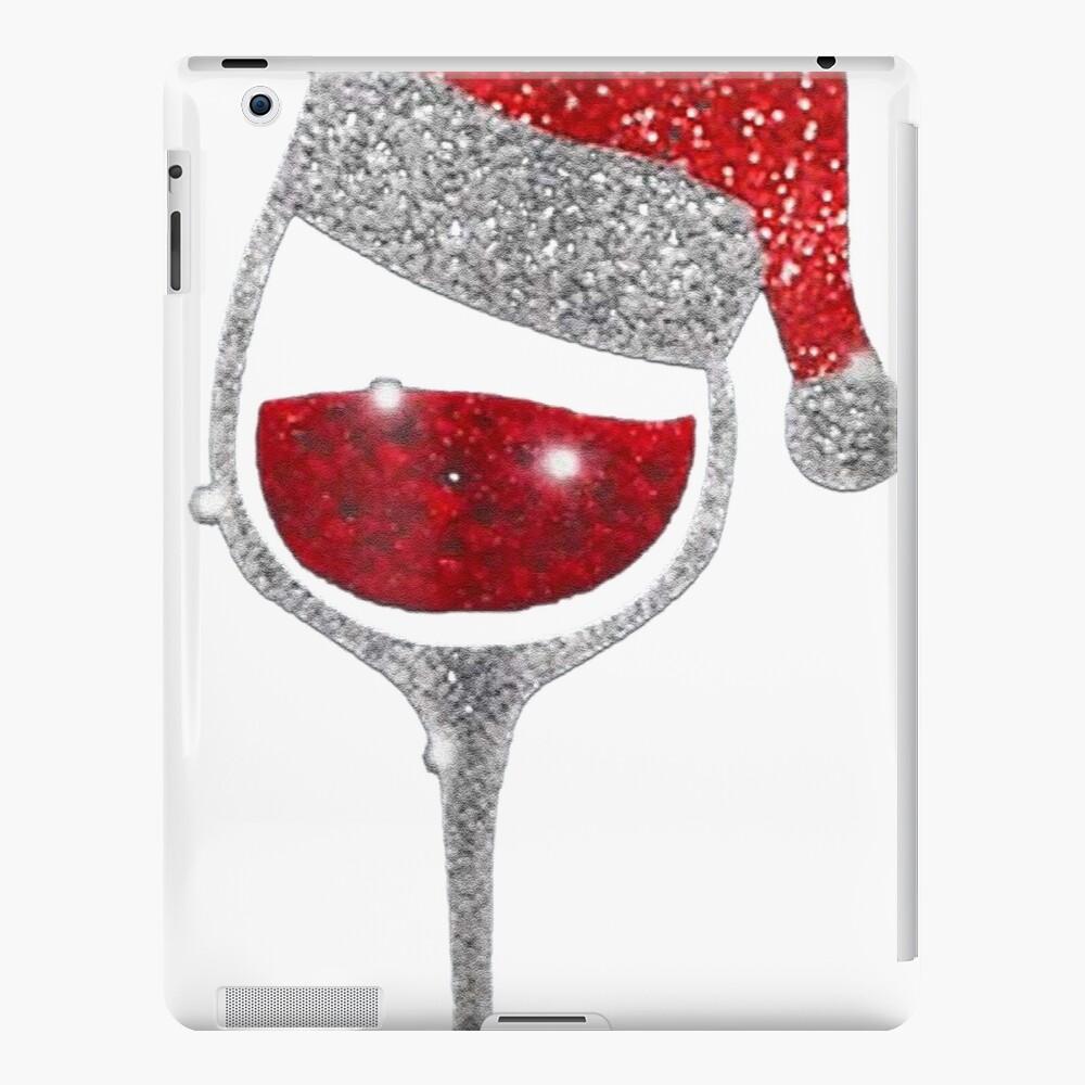Wine Christmas Tree Shirt.Diamond Wine Glasses Santa Hat Christmas T Shirt Ipad Case Skin