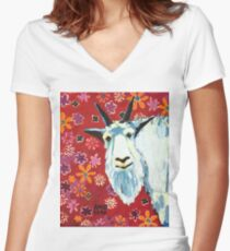 Liberty Goat Women's Fitted V-Neck T-Shirt