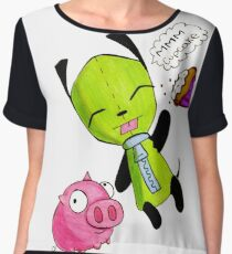 Gir with his pig and cupcake Chiffon Top