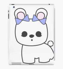 Bette Blanc de Hotot Bunny with Blue Bows: Grey Outline iPad Case/Skin